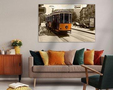Karakteristieke tram in Milaan van Alida Stuut