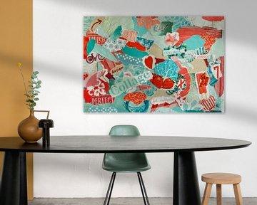 Inspiration Recycling-Collage in Türkis und Rot von Trinet Uzun