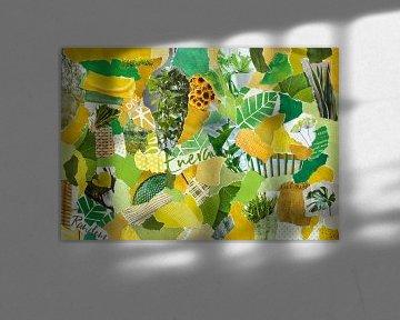 Inspiration Recycling-Collage in Retro-Gelbgrün von Trinet Uzun