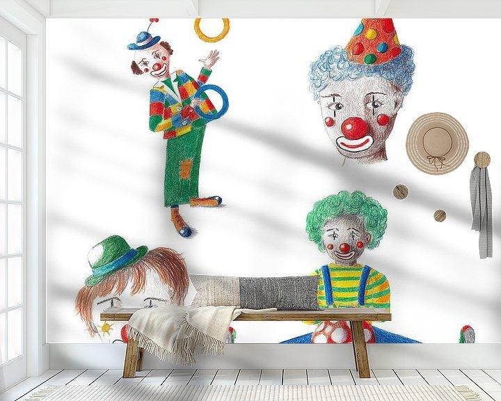 Beispiel fototapete: Vier fröhliche Clowns von Ivonne Wierink