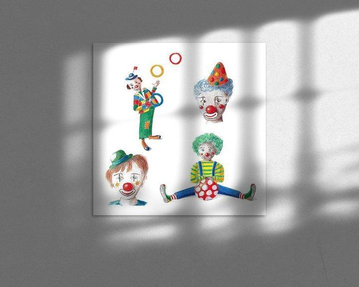 Beispiel: Vier fröhliche Clowns von Ivonne Wierink
