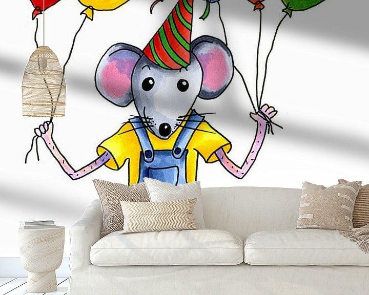 Beispiel fototapete: Festliche kleine Maus mit Luftballons von Ivonne Wierink