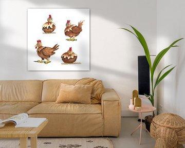 Lustig gezeichnete braune Hühner von Ivonne Wierink