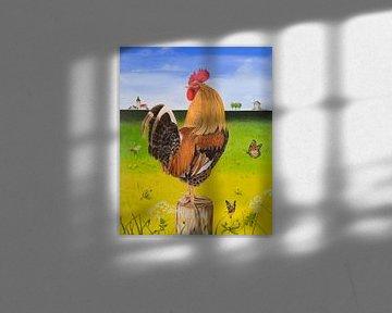 Ölgemälde Gemälde von farbenfrohem Hahn von Ivonne Wierink