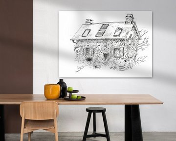 Gemälde eines kleinen Hauses in Frankreich von Ivonne Wierink