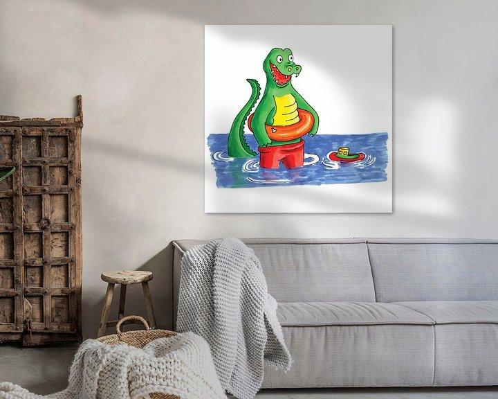 Beispiel: Handgezeichnetes Krokodil, das im Wasser spielt von Ivonne Wierink