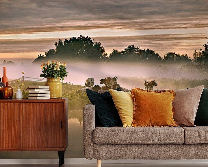 Impression: Pays-Bas, Tienhoven, Vaches dans le brouillard matinal à Molenpolder. sur Frans Lemmens
