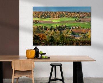 Panorama von Fachwerkhäusern in Herbstfarben von Frans Lemmens