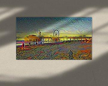 Kleurrijk kunstwerk van de pier van Scheveningen