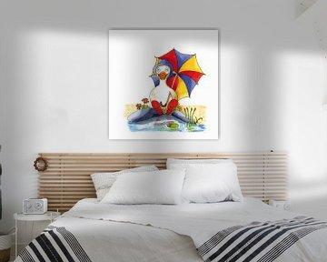 Cartoon van vrolijke eend zittend aan het water van Ivonne Wierink