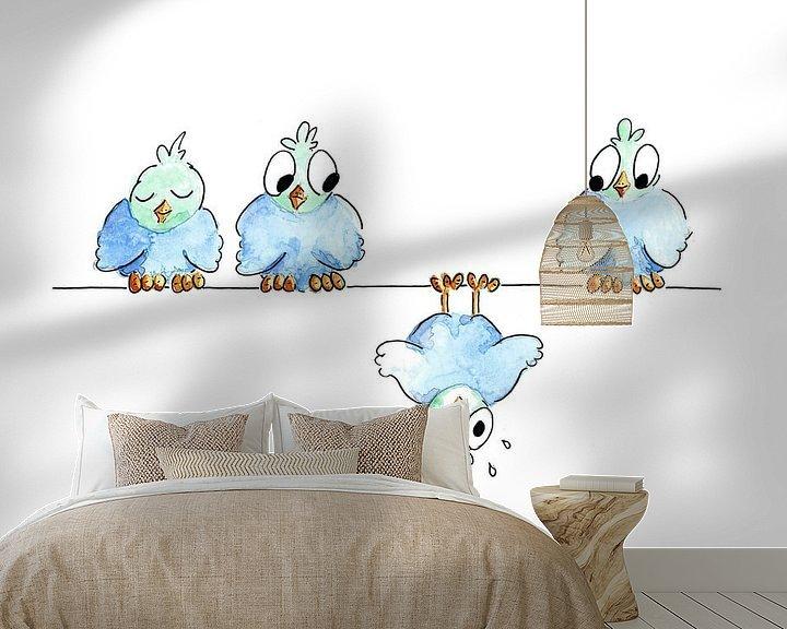 Sfeerimpressie behang: Illustratie gevallen vogel van Ivonne Wierink