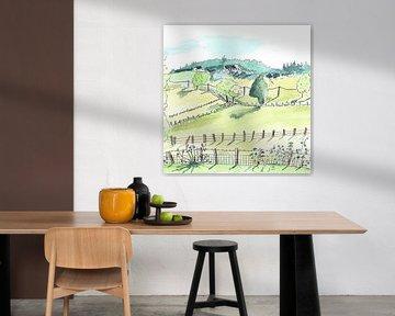 Illustratie van Frans landschap van Ivonne Wierink