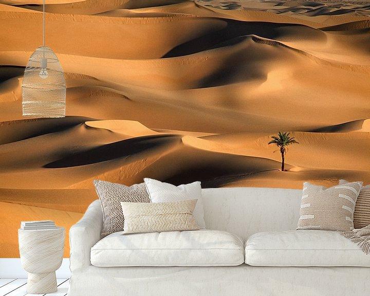 Beispiel fototapete: Einsame Palme in Sanddünen. Wüste Sahara. von Frans Lemmens