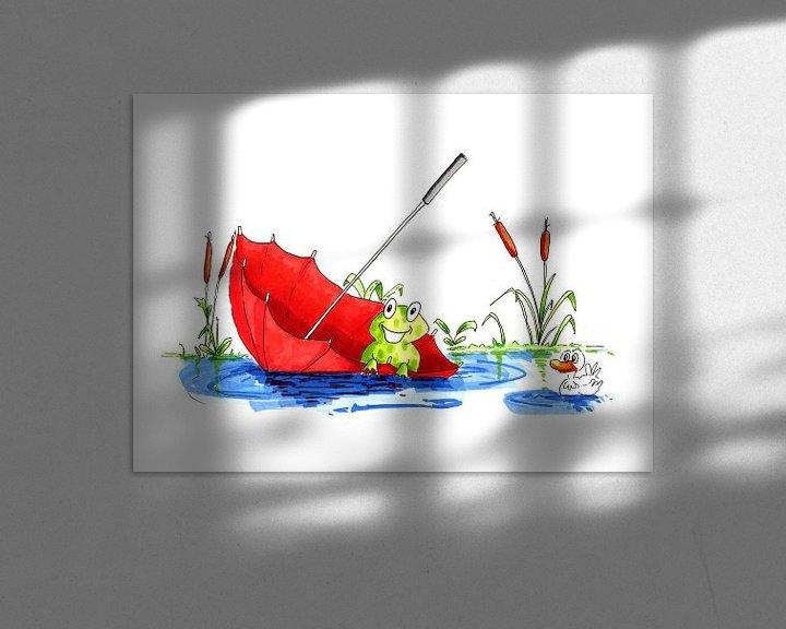 Sfeerimpressie: Illustratie van kleine kikker drijvend op het water van Ivonne Wierink
