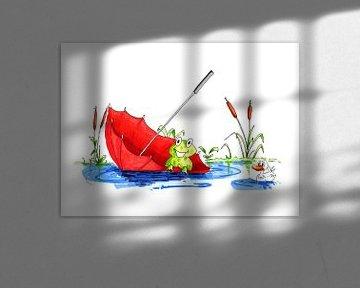 Illustratie van kleine kikker drijvend op het water van Ivonne Wierink