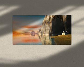 Zonsondergang idylle met huis aan het meer van Markus Gann