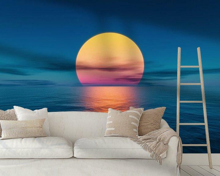 Beispiel fototapete: Große Sonne am Meer von Markus Gann