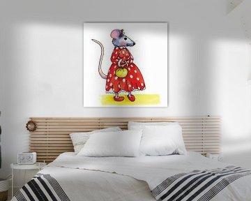 Lustige Maus mit rotem Kleid von Ivonne Wierink