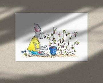Illustratie van bessen plukkende muis van Ivonne Wierink