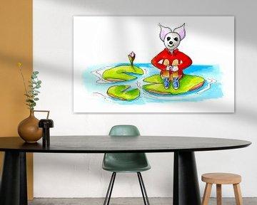 Maus sitzt auf einem Blatt Wasserlinse von Ivonne Wierink