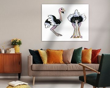 Twee struisvogels van Ivonne Wierink