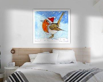 Roodborstje in de sneeuw van Ivonne Wierink