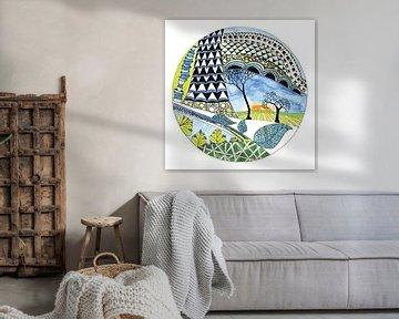 Abbildung einer runden Landschaft von Ivonne Wierink