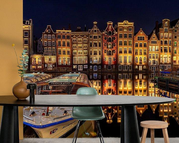 Sfeerimpressie behang: Amsterdam - Damrak in stilte van Marco Schep