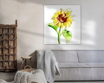 Illustratie van zonnebloem van Ivonne Wierink