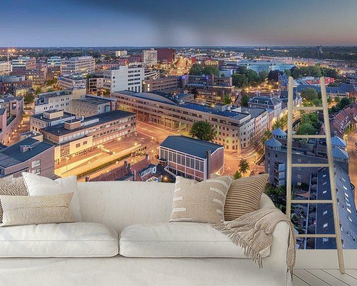 Sfeerimpressie behang: Amersfoort vanaf de toren voor zonsopkomst van Dennisart Fotografie
