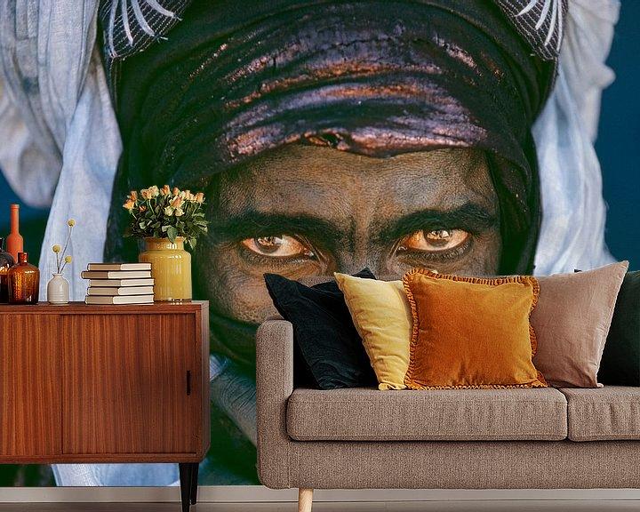 Impression: Le désert du Sahara.  Homme touareg. Portrait. sur Frans Lemmens