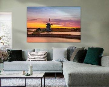 Texel, Mühle, Sonnenuntergang von Martina van Raad