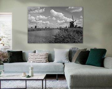 Mühlen bei Kinderdijk (Schwarz-Weiß) von FotoGraaG Hanneke