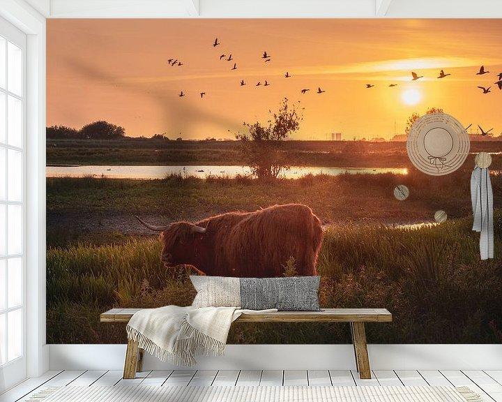 Sfeerimpressie behang: schotsehooglander tijdens een zonsondergang van Marinus Engbers
