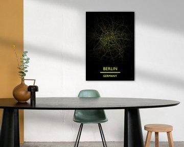 Karte Berlin Deutschland (gold) von Bert Hooijer