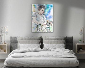 John Mayer Abstraktes Porträt in Blau-Türkis von Art By Dominic