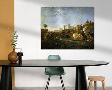 Aelbert Cuyp, Eine Ansicht von Dordrecht, mit einer Milchmagd und vier Kühen und anderen Figuren - 1
