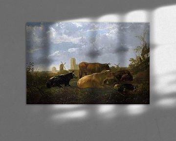 Aelbert Cuyp, Eine Panoramaaufnahme von Dordrecht, mit Kühen - 1650