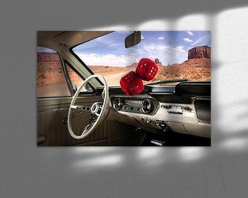 Innenraum eines Ford Mustang von 1964 im Grand Canyon, USA von Ruurd Dankloff