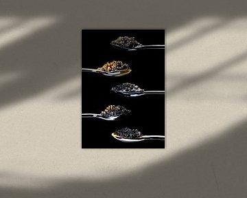 vijf verschillende soorten kaviaar van Ruurd Dankloff