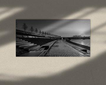 Sunrise Lentse Warande schwarz-weiß von Henk Kersten