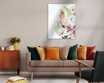 Tropische vogel in bloei Jungle van Uta Naumann