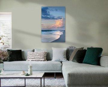 Zonsondergang aan het strand van Kampen, Sylt, Noord-Friesland, Sleeswijk-Holstein, Duitsland van Markus Lange