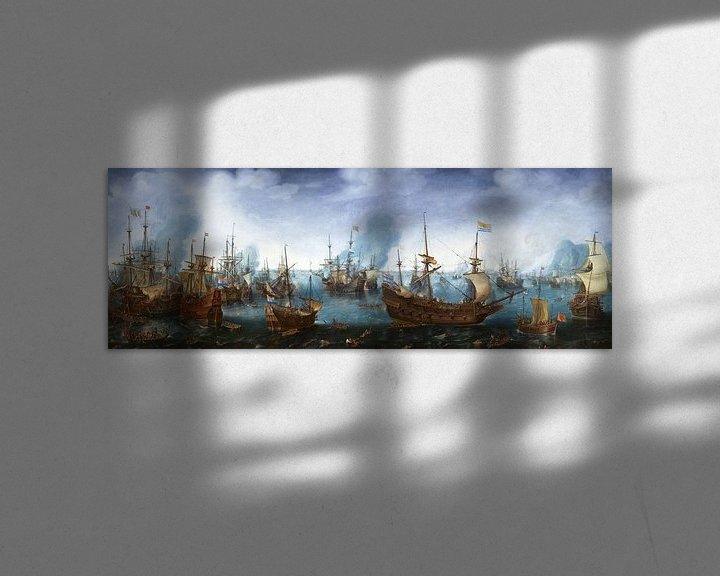 Sfeerimpressie: Cornelis Claesz. Van Wieringen, Zeeslag bij Gibraltar - 1622 van Atelier Liesjes