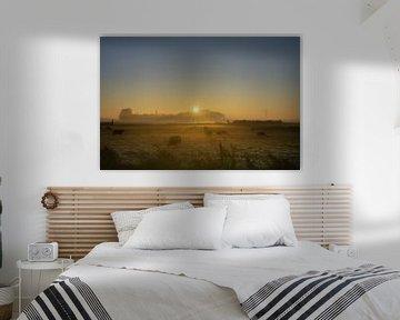 Schafe im Nebel von Willian Goedhart