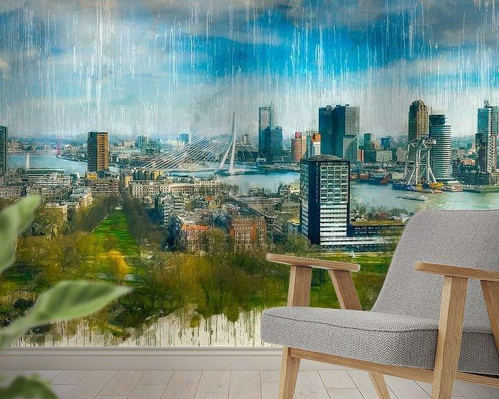 Beispiel fototapete: Rotterdams gemalte Skyline von Arjen Roos