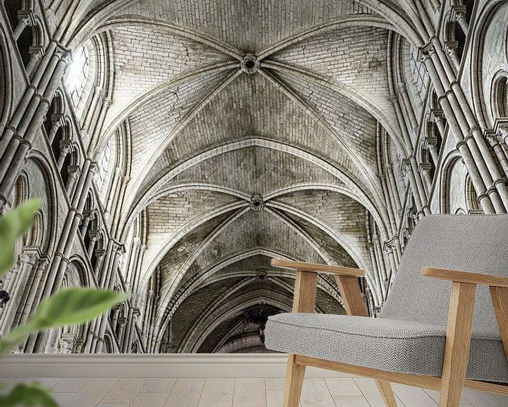 Sfeerimpressie behang: Detail van de kathedraal van Laon van Ellen van Schravendijk