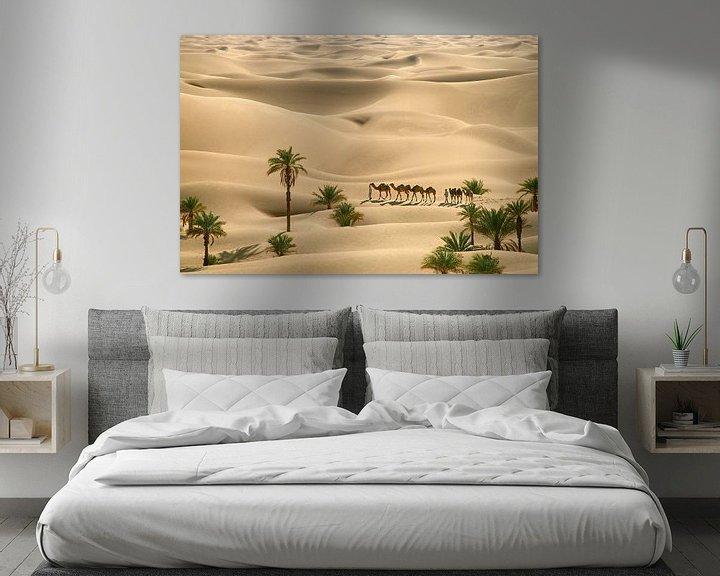 Beispiel: Wüste Sahara. Beduinen mit Kamelen von Frans Lemmens