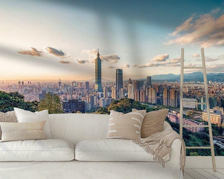 Sfeerimpressie behang: Taipei-avond van Manjik Pictures
