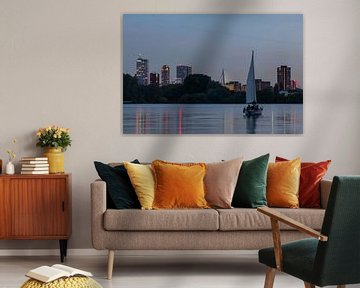 De skyline van Rotterdam met zeilboot op de Kralingseplas van MS Fotografie | Marc van der Stelt
